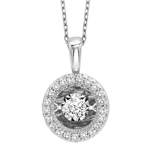 14KW Diamond Rhythm Of Love Pendant 1/7 ctw