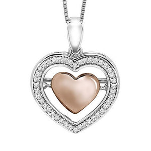 10K Diamond Rhythm Of Love Pendant 1/7 ctw