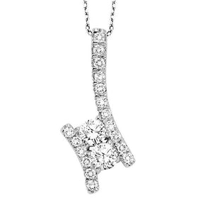 Silver Diamond Two Stone Pendant 1/4 ctw