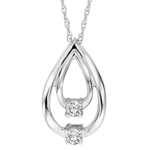 10KW Diamond Two Stone Pendant 1/10 ctw