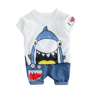 Infant New born Baby Boy Clothes Summer Color Cartoon Shark Tops Short Denim Pants Casual Outfits 3M-24M Cute baby boy sets 2019