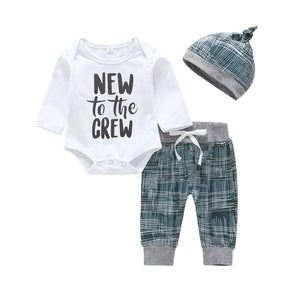 Fashion new born baby boy clothes set letter cotton Long sleeve T-shirt+pants+hat 3pcs