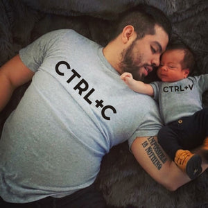 Ctrl+C Printed Dad T-shirt Ctrl+V Printed Baby Bodysuit Father's Day Gift