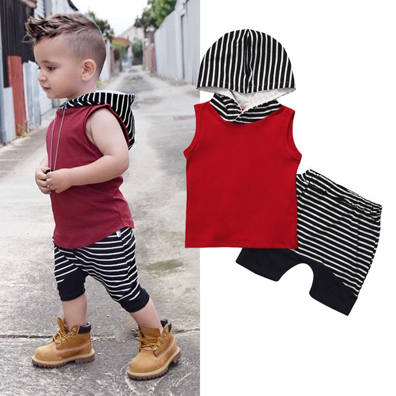 Newborn Outfit Baby Boys Clothes Set Red Hooded Sweatshirt Tops Striped Pants Sleeveless Hoodie Infant New Born Baby Clothes Set