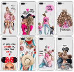 Mama of girl boy Super mom baby cute phone Case For iPhone XR 7 6 6s 8 Plus 5S SE X XS MAX Soft TPU Phone Cover