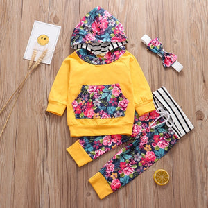 Newborn Baby Girl Clothes Autumn 3Pcs Set Flower Print Baby Outfit Long Sleeve Hooded Pants Headband Infant Girl