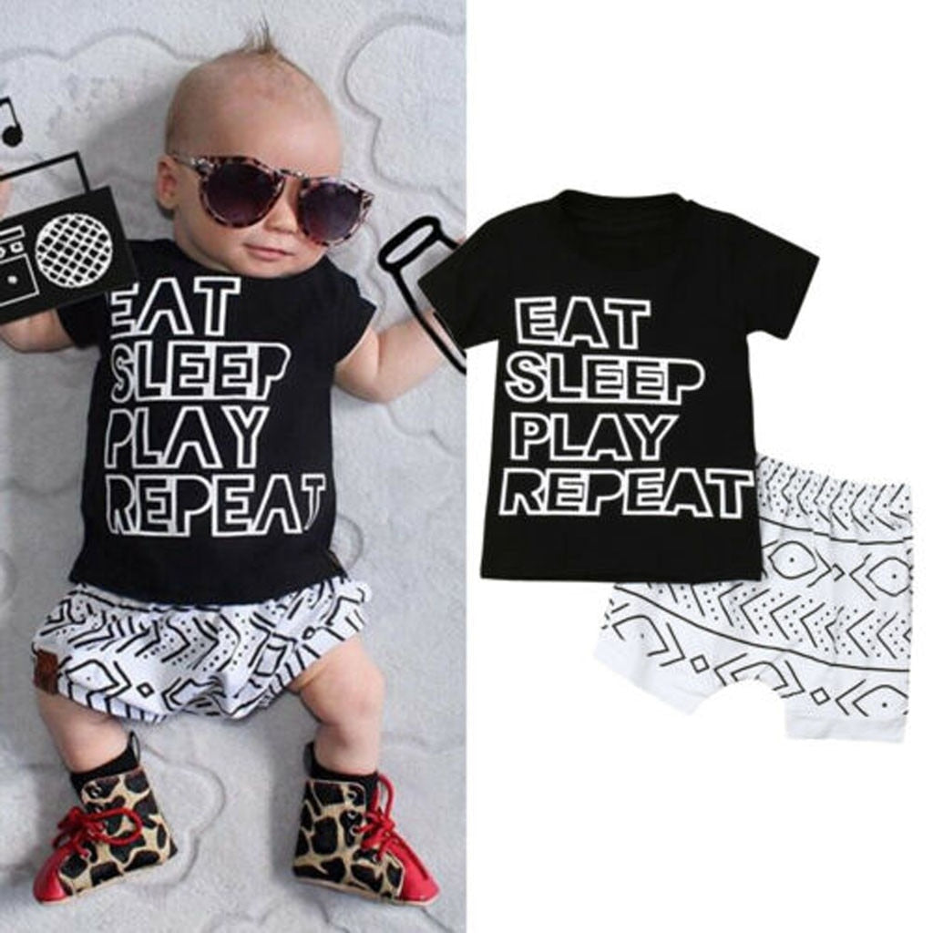 Toddler New born Baby Boy Clothes Sets 2019 Cotton Letter T Shirt Tops Geometry Print Shorts Outfits Summer infant boy clothes