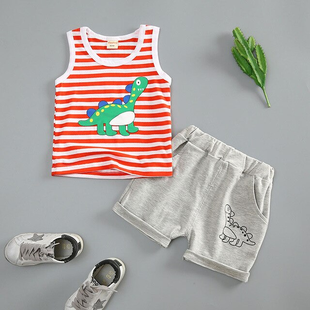 New Born Baby Boy Clothes Set Cartoon Dinosaur Cotton Summer Boys Clothing