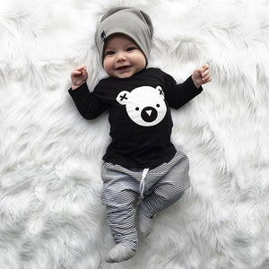 New Born Boys Cartoon Koala T-Shirt Tops Striped Pants Outfits Sets