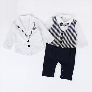New Born Baby Boy  White Jacket+ Stripe Rompers With Bow Tie Clothing 6-24M