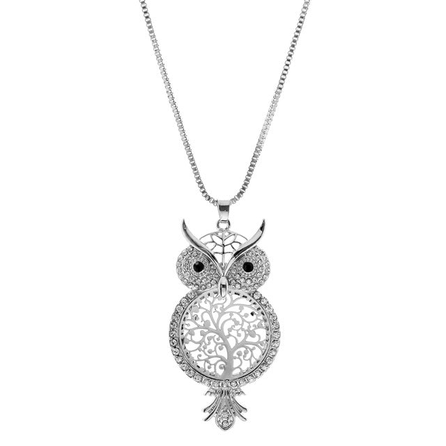 Crystal Cute Owl Hollow Out Pendant Necklace
