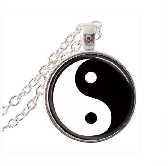 Black and white yin yang cross necklace glass  tree of life choker accessories