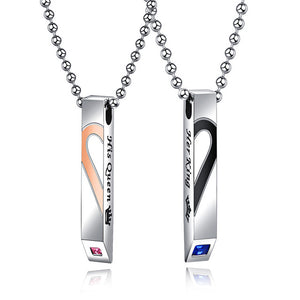 "Men And Women Stainless Steel ""His Queen"" ""Her King"" Couple Necklace"