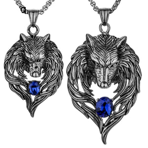Couple Necklace Stainless Steel Wolf Pendants Chain Valentine Day