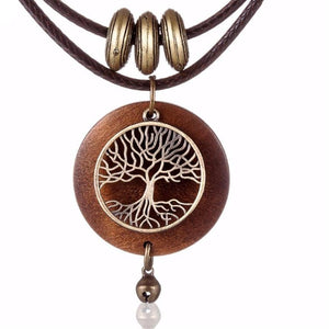 Necklaces vintage Jewelry Tree Design Wooden pendant