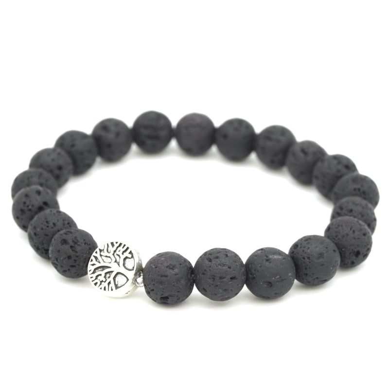 5 Styles Tree of Life Paw Charms 8mm Black Lava Stone Beads DIY Aromatherapy Essential Oil Diffuser Bracelet Yoga Strand Jewelry