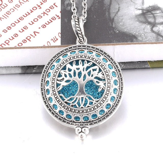 Aroma Diffuser life Tree Necklace Open Lockets Pendant Perfume Oil  Locket to send Chain length 60cm+1pcs bright mat