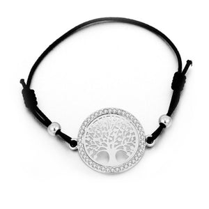 Tree Of Life Bracelet Black String Elastic Cord