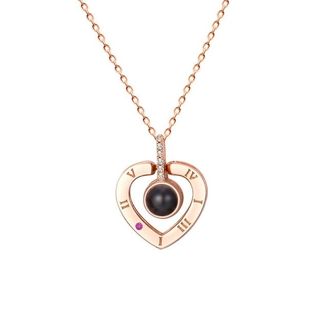 Rose Gold Silver Romantic Valentine's day Necklace