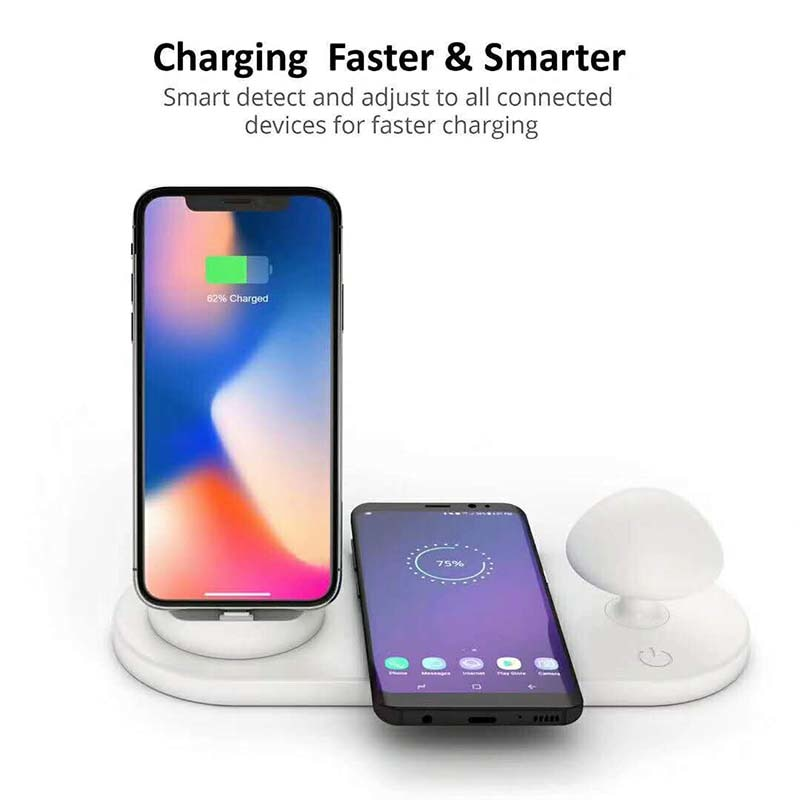 3 In 1 Fast Wireless Charger Pad Night Lamp