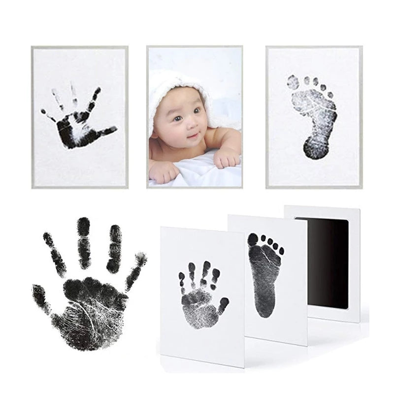 Footprint Imprint Kit Baby Ink Pad Newborn Photo Frame Kits Baby Souvenir Drawer Inkless Handprint Casting