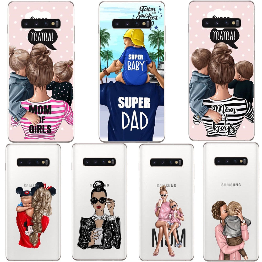 Phone Cover Super dad Hair Baby Mom Girl Case For Samsung Galaxy S6 S7 Edge S8 S9 Plus S10E Lite S10 Plus Note 9
