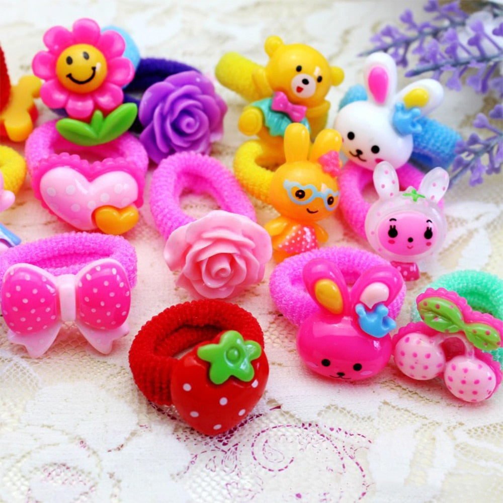 10 Pcs Colorful Child Kids Hair Holders Cute Cotton Rubber with carton flower animal pendent Hair Band Elastics Accessories Girl