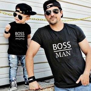 family matching clothes outfits look father Son T shirt Shirts Family Clothes Child Tees Letter Print Tops Gourd doll