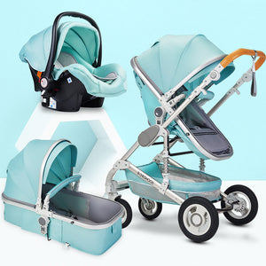 Multifunctional 3 in 1 Baby Stroller High Landscape Stroller  Folding Carriage Gold Baby Stroller Newborn Stroller