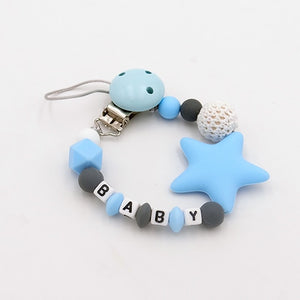 Colorful Silicone Personalized Letter Pacifier Clips Funny Chupetero Chain For Infant Feeding Toddle Chew Toy Clips BPA Free