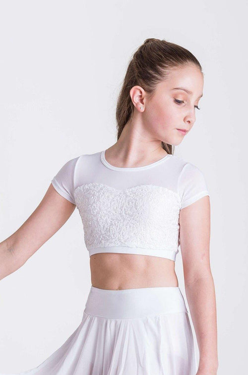 Attitude Sequin Crop Top | White  Dancewear Australia