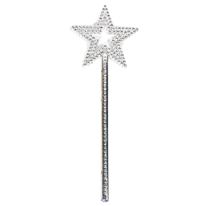 This classic Silver Glitter Wand, sparkles in the light. Perfect for all Fairy Princess' for that extra special touch to there imaginative play, or costume dress up party.