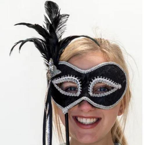 Mask on stick - Silver  Dancewear Australia