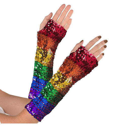 Rainbow Sequin Fingerless Gloves fancy dress costume australia