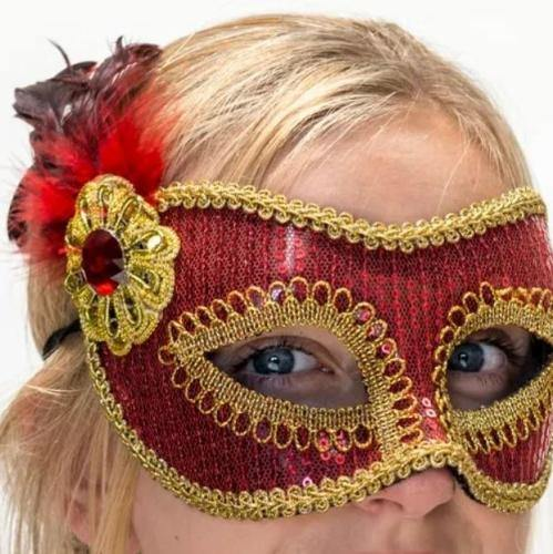 Mask - Sparkly Red with Gold Trims  Dancewear Australia