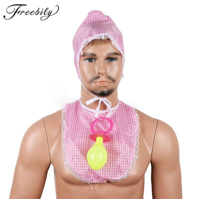Adult Baby Kit Costume Set includes:  Baby Bib Baby Bonnet Giant Dummy Pacifier