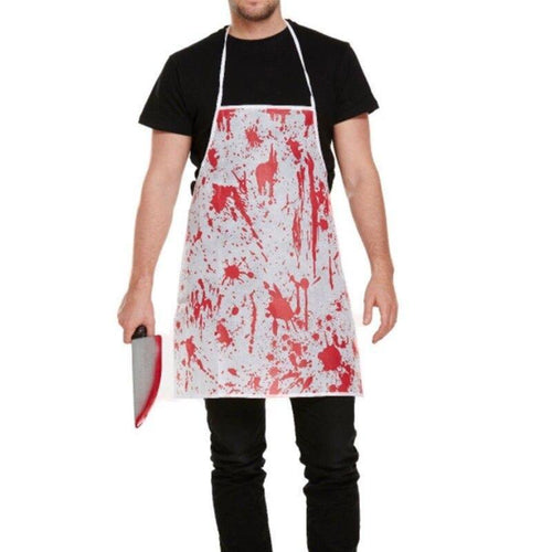bloody apron, halloween costume, fake blood, bbq apron.butchers apron covered in blood