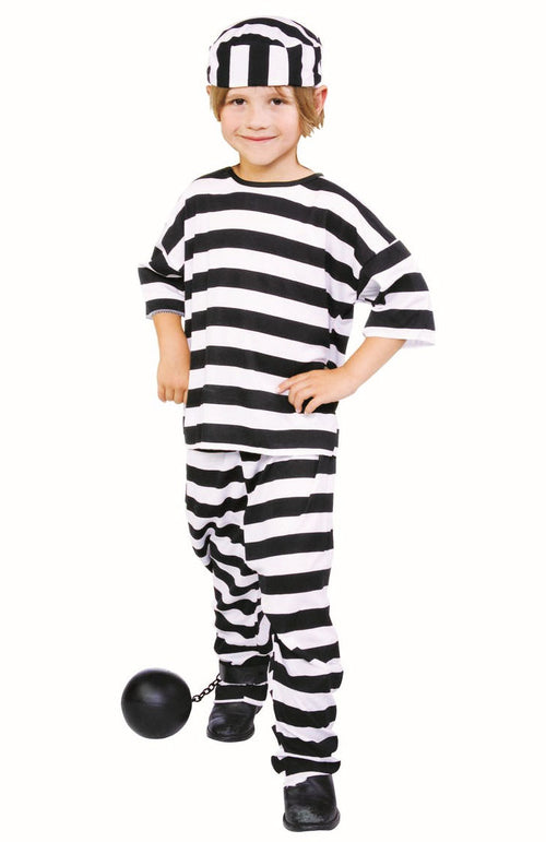 black and white stripped prisoner costume set for children. boys fancy dress costume.