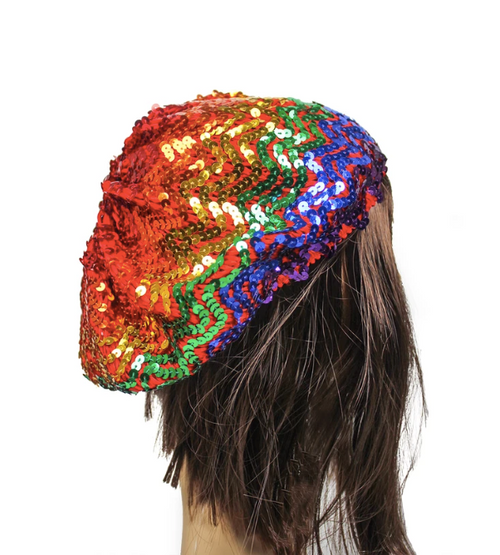 Rainbow Sequin Beret Hat fancy dress costume australia