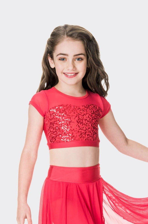 Attitude Sequin Crop Top | Red  Dancewear Australia