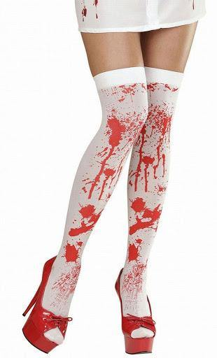 bloody thigh high sexy tights, naughty nurse costume, halloween, bloody fake blood