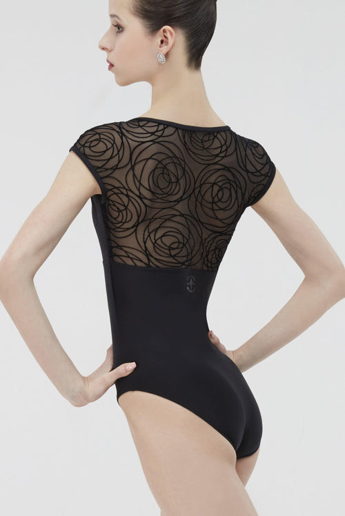 black mesh ballet leotard