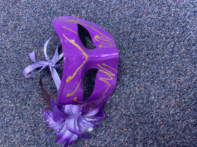 Mask - Purple with Flower & Gold Glitter Trim