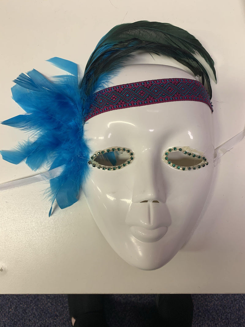 Mask - White Full Face with Feathers