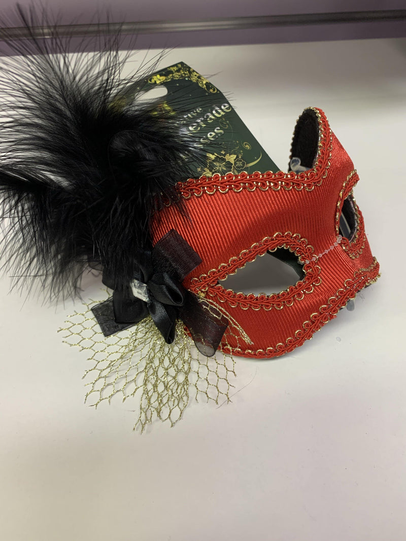 Mask - Red with Gold & Black Trims  Dancewear Australia