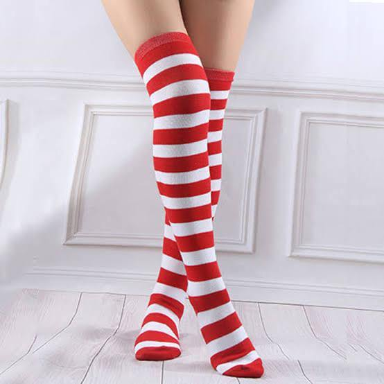 Over the Knee Red + White Striped Socks