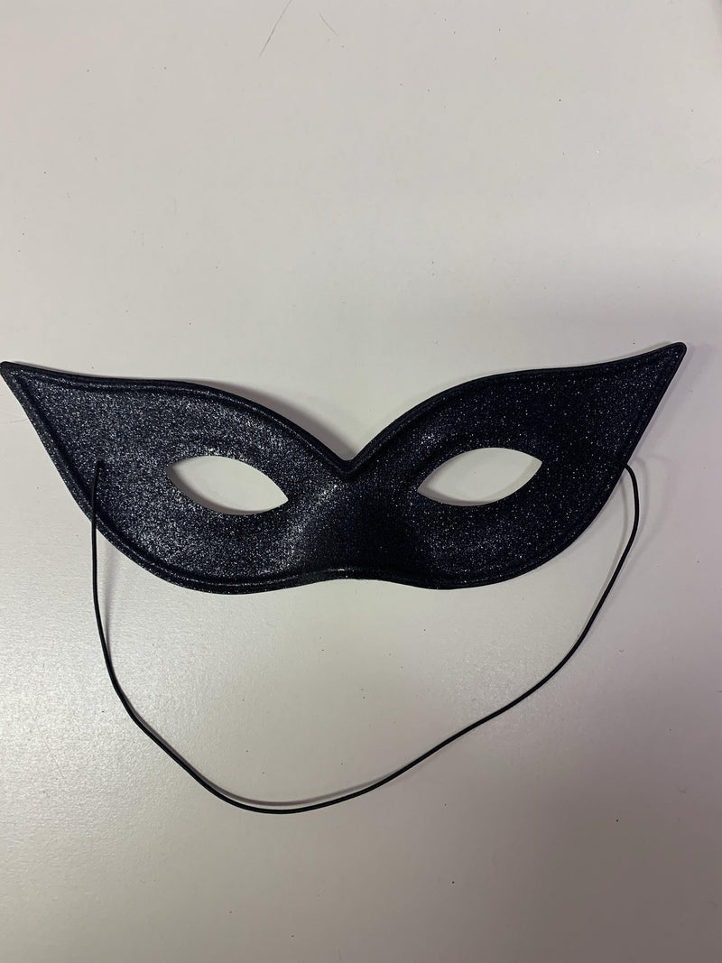 Mask - Black Glitter Bat/Cat