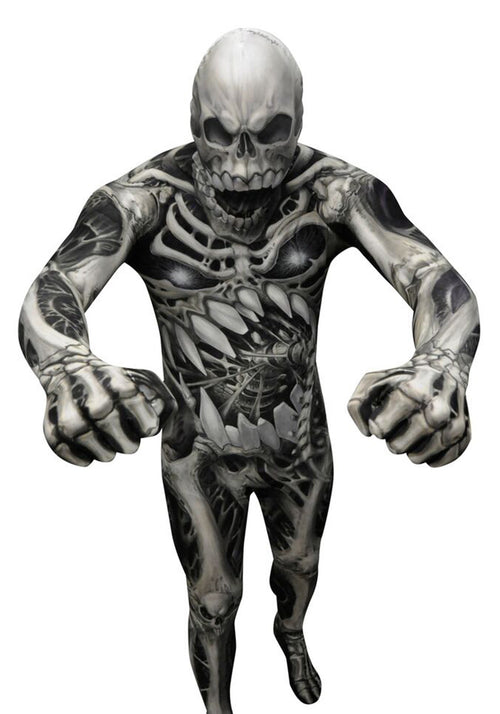 halloween morphsuit australia, skulls and bones, lycra body suit. halloween costume
