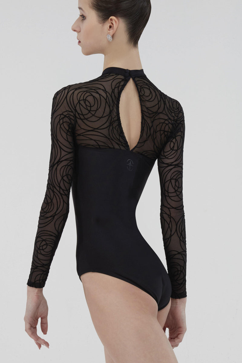 long sleeve mesh  black leotard