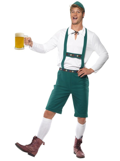 Check out our brilliant adult men's German Oktoberfest fancy dress costume which comes complete with a pair of green lederhosen shorts with braces, long sleeved white top and coordinating green hat. Ideal for any Beer festival.